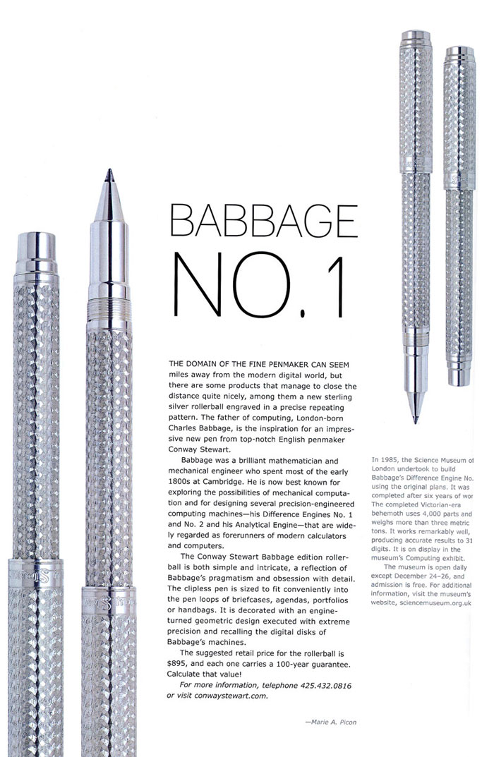 Babbage Editorial in Pen World, January 2008